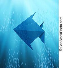 pesce blu, mare profondo, origami, galleggiante