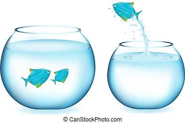 pesce blu, saltare
