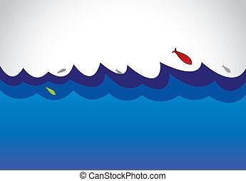 pesce blu, superficie, oceano, mare, selvatico