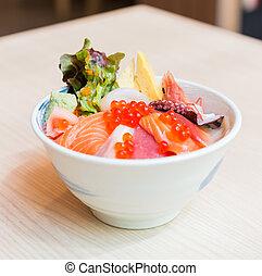 pesce crudo, riso, ciotola, sashimi