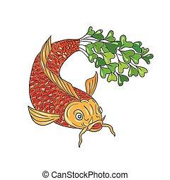 pesce koi, microgreen, nishikigoi, carpa, coda, disegno
