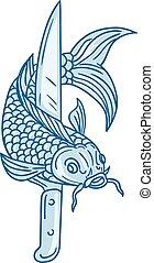 pesce koi, nishikigoi, carpa, coltello traccia