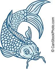 pesce koi, nishikigoi, carpa, giù, tuffo, disegno