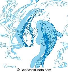 pesce koi, vettore, illustrazione