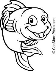 pesce oro, carattere, o, pesce rosso, cartone animato