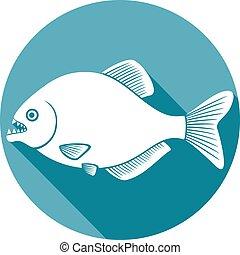 pesce piatto, piranha, icona