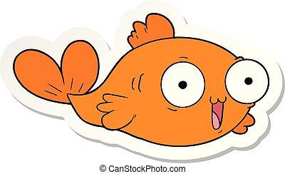 pesce rosso, adesivo, cartone animato, felice
