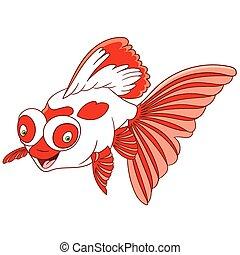 pesce rosso, carino, cartone animato, telescopio