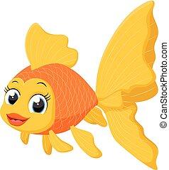 pesce rosso, carino, cartone animato