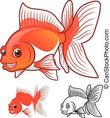 pesce rosso, cartone animato, fantail