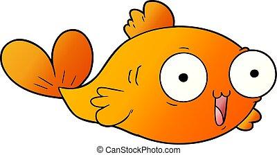 pesce rosso, cartone animato, felice
