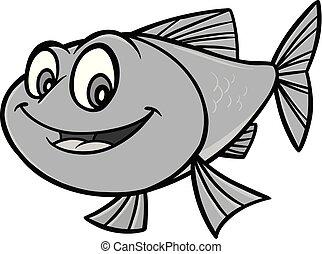 pesce rosso, cartone animato, illustrazione