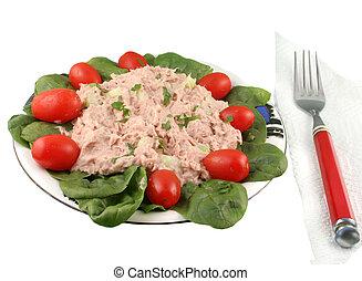 pesce tonno, insalata, spinacio