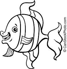 pesce tropicale, coloritura, cartone animato, pagina