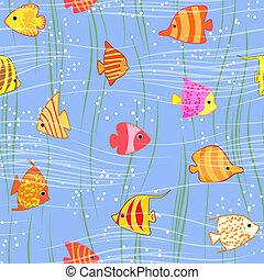 pesce tropicale, seamless, fondo, variopinto