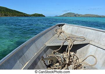 peschereccio, vela, lungo, tropicale, isole, in, figi
