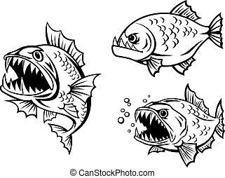 pesci, affilato, arrabbiato, piranha, denti