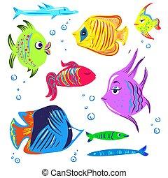 Colorare carino pesci carino illustration colorare - Cartone animato giraffa da colorare pagine da colorare ...