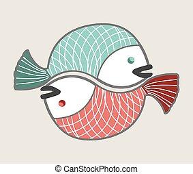 pesci, cerchio, amore