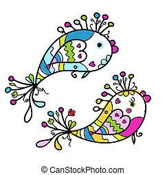 pesci, divertente, schizzo, disegno, tuo