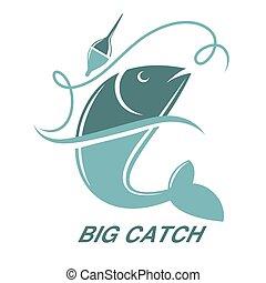pesci grandi, isolato, vettore, pesca, sagoma, presa, icona