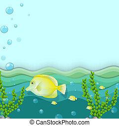 pesci, gruppo, mare, giallo, sotto