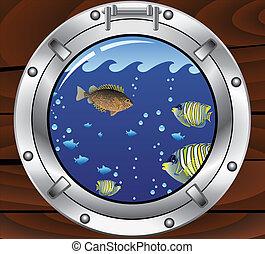 pesci tropicali, vettore, colorito, oblò