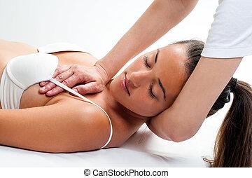 pescoço, mulher, osteopathic, massage., tendo