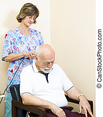 pescoço, terapia, -, ultrasom