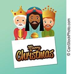 pesebre, reyes, diseño, sabio, tres