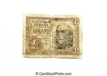 old spanish bill, one peseta