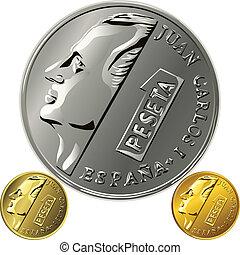 peseta, oro, dinero, uno, vector, moneda española, plata
