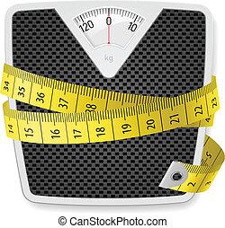 pesi, e, metro a nastro
