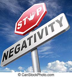 pesimismo, parada, negatividad, no