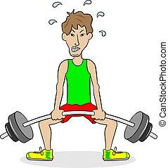 pesista, durante, addestramento