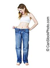 peso, após, calças brim, perdendo, menina, feliz