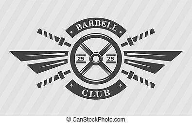 peso, barbell., disco, bodybuilding