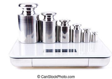 peso, calibración, aislado, plano de fondo, plata, blanco