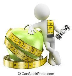 peso, cibo, sport, perdere, persone., sano, 3d, bianco