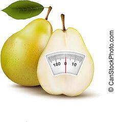 peso, concept., pera, dieta, vector., scale.