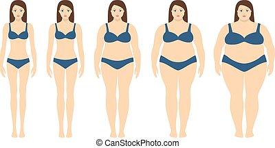peso, concept., vector, obesidad, peso insuficiente, cuerpo, extremly, masa, pérdida, degrees., siluetas, diferente, ilustración, obese., mujer, índice