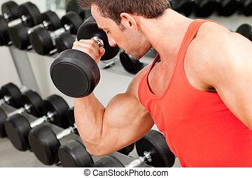 peso, desporto, homem, equipamento, ginásio, treinamento