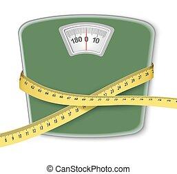 peso, diet., tape., medición, concepto, escala
