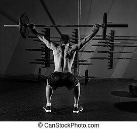 peso, entrenamiento, barra con pesas, vista trasera, ...