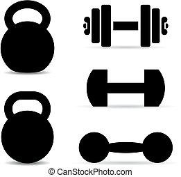 peso, equipo, vector, iconos, entrenamiento