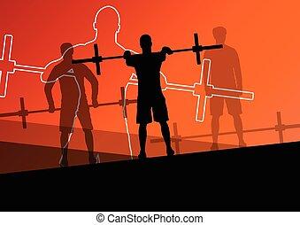 peso, homens, desporto, crossfit, levantamento