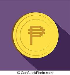 Peso icon, flat style