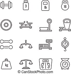 peso, iconos, escalas, libra, vector, medida, línea fina, balance