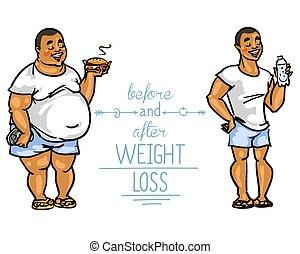 peso, loss., antes de, homem, após