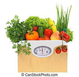peso, papel, fresco, bolsa, comestibles, escala, esfera